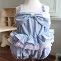 Envío del verano niños niñas trajes de niños niñas de algodón sólidos sueltos guardapolvos niños niños ropa