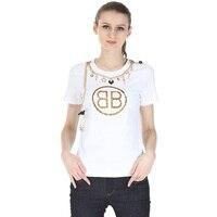 2017 Suumer Women T Shirt BB Letter Printing Brand T Shirt Femme Casual Loose Short Sleeve