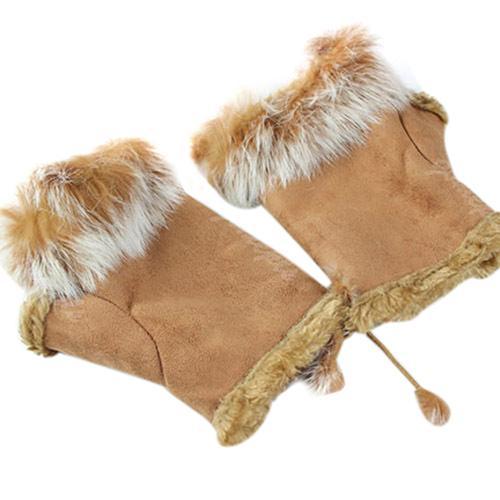 Women's Fashion Winter Warm Imitation Rabbit Hair Faux Leather Fingerless Gloves