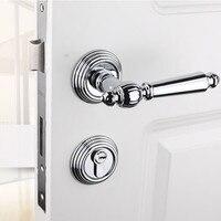 modern Fashion simple silver mechanical mute split locks black bedroom kitchen bookroom solid wooden handle locks American style