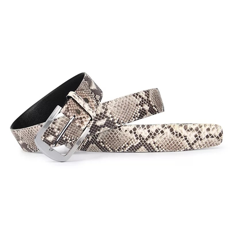 Luxury Genuine Snakeskin Stainless Steel Silver Needle Buckle Men s Belt Exotic Real Python Leather Male