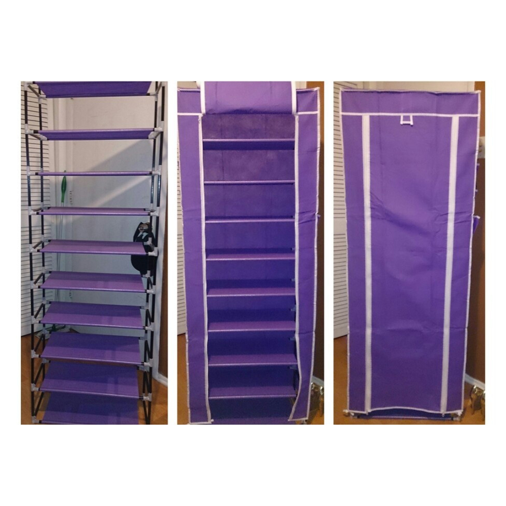Practical Home 10 Layer 9 Grid Shoe Rack Storage Shelf Organizer Cabinet with Cover Pockets purple 43 3 inch 7 layer 9 grid non woven fabrics large shoe rack organizer removable shoe storage for home furniture shoe cabinet