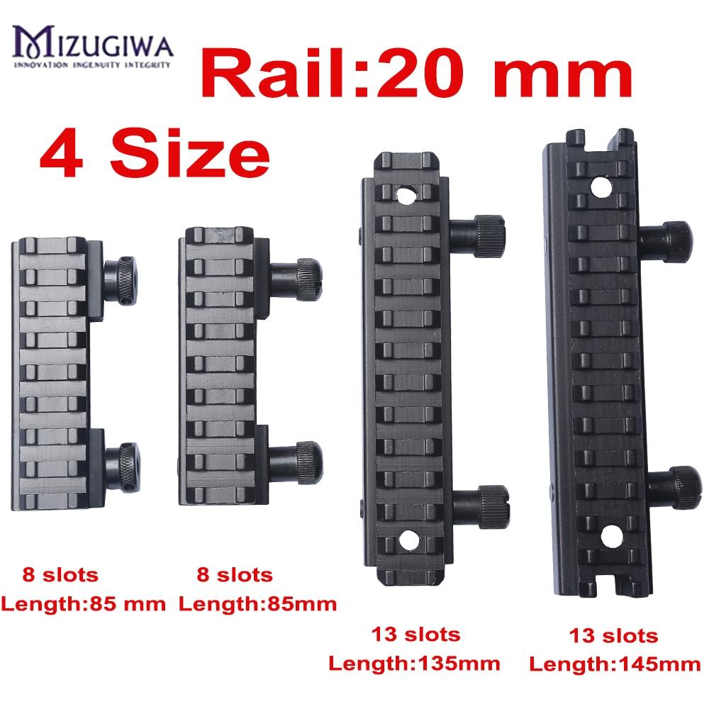 Mizugiwa 1pc Riser Base Picatinny Rail 20mm Weaver See-Thru AR Flat-Top 8 Slot 13 Slots Airsoft Hunting Scope Mount Caza