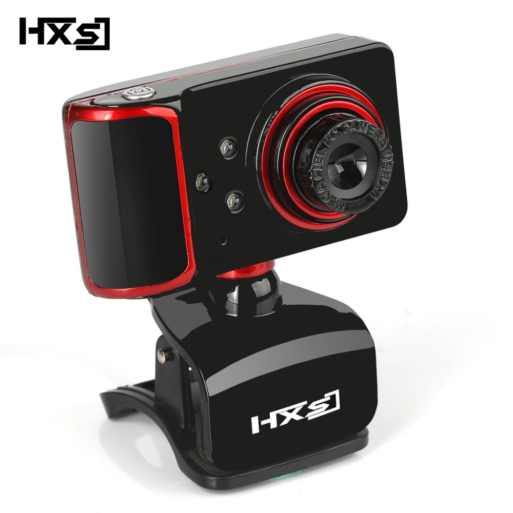 HXSJ 480P Computer Camera Rotation Adjust HD Network Camera Clamp Type 3 LED Camera Web Camera with Microphone for Android TV PC