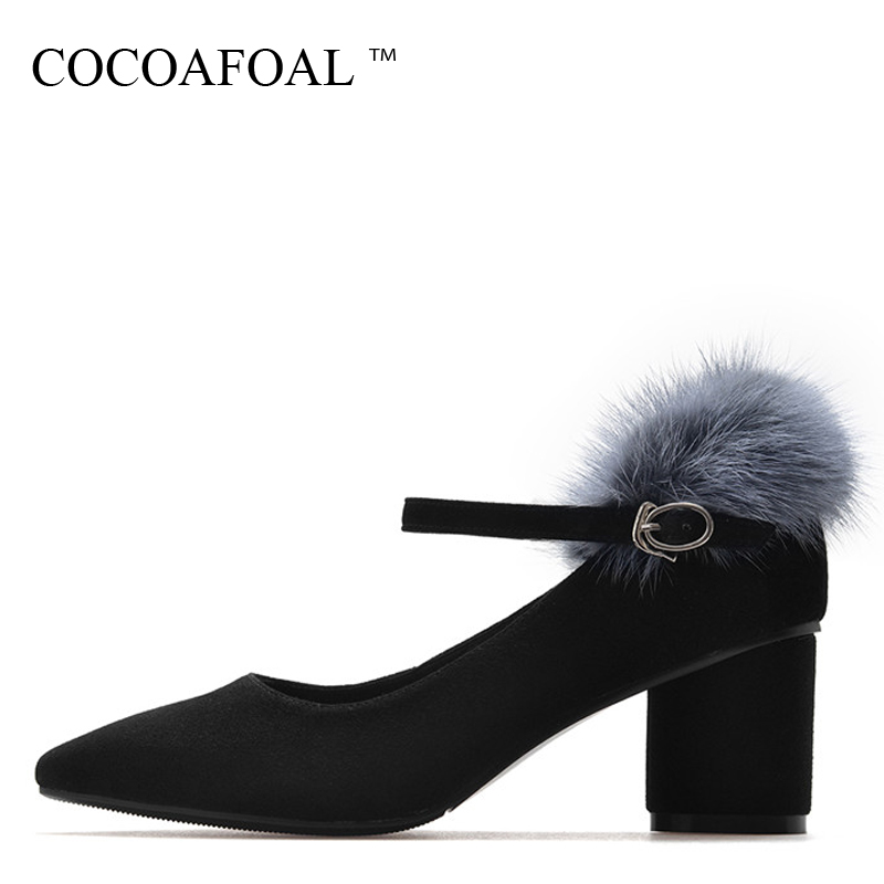 COCOAFOAL Woman Mary Janes Shoes Black Fashion Sexy High Heels Shoes Wedding Party Buckle Strap Stiletto Genuine Leather Pump lovexss woman wedding mary janes black red genuine leather woman high heel shoes party patent leather pumps mary janes 2017