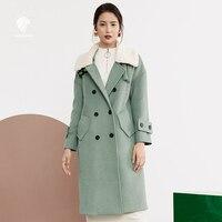 FANSILANEN 2017 New Arrival Fashion Autumn/Winter Loose Casual Long Wool Cashmere Coat Woolen Women Female Overcoat Z73209