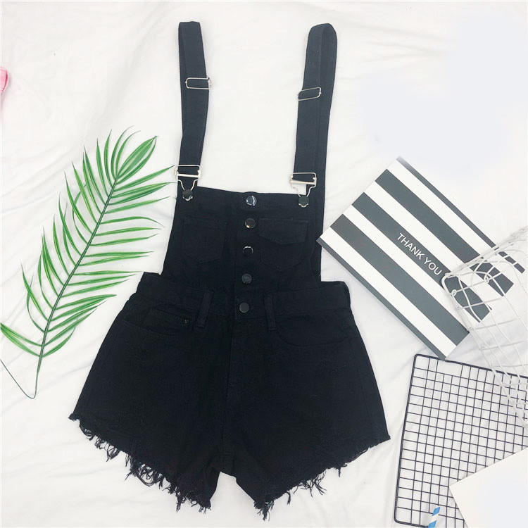 The new loose-fitting Korean version of the springsummer 2017 denim suspenders for female students shows a trend of slim, worsted fringed tassel shorts (7)