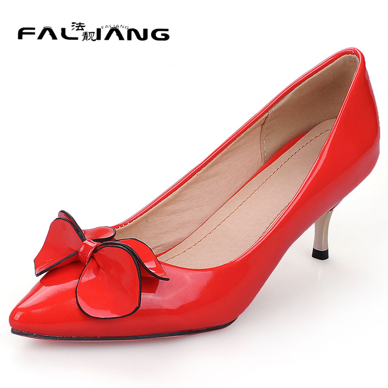 Spring Autumn New Fashion High Heels Womens Shoes Patent Leather Pointed Toe plus size 11 12 13 14 Clover Flower Single shoes new spring autumn women shoes pointed toe high quality brand fashion ol dress womens flats ladies shoes black blue pink gray