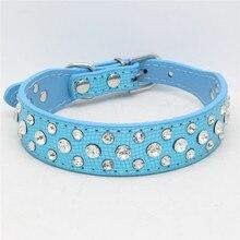 Blue Small Large Spiked Rhinestone Dog Collars