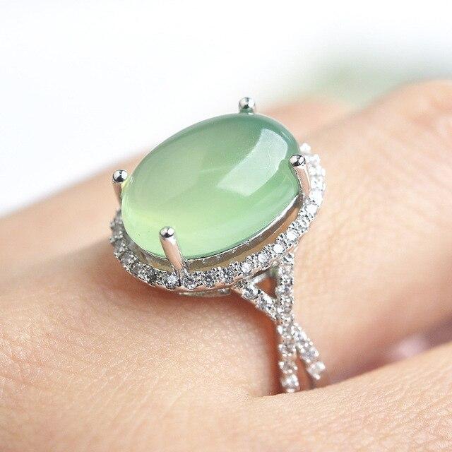 Природные полудрагоценные камни Хризопраз зеленый Халцедон Мода Роскошные Женщины кольца Сладкий Ретро зеленое Кольцо ресниц Женщины Ювелирные Изделия