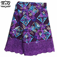 Purple color Wax Print Lace Fabric 6 Yards/pcs African Cord Lace With High Quality African Guipure Lace 100% Cotton For Party