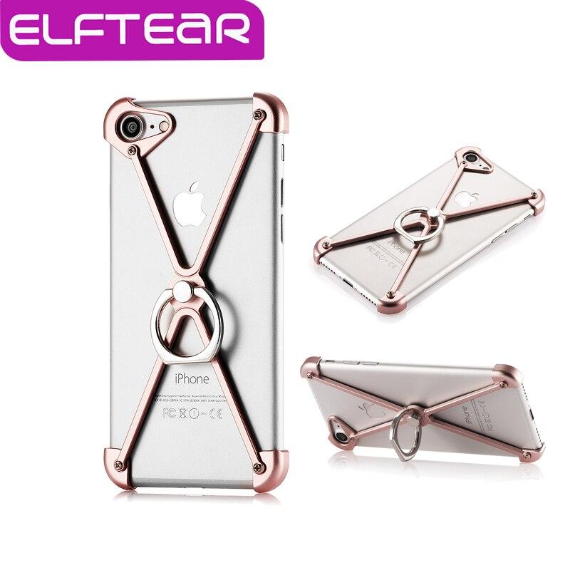imágenes para Elftear anillo fresco del metal de parachoques para el iphone 7 7 plus parachoques de aluminio case a prueba de golpes con el soporte del anillo