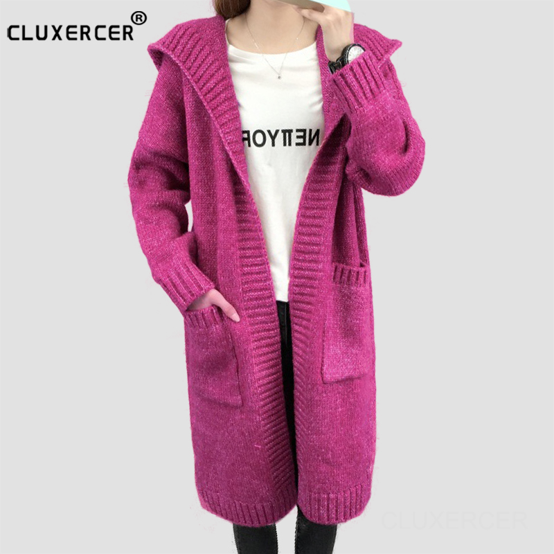 2018 new style Autumn and winter new hooded women cardigan thick long section casual women sweater coat
