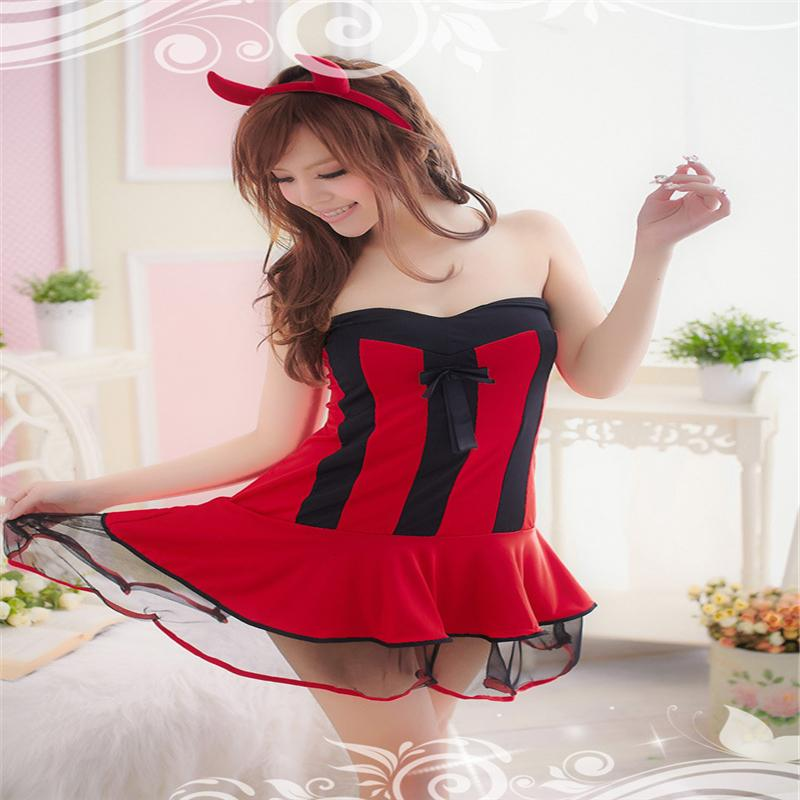 Buy devil evil Teddy Babydoll Xmas Uniform Red Sexy Christmas Costume Sleepwear Cosplay Outfit Lingeries