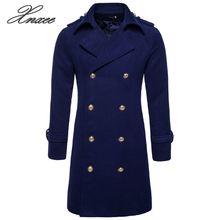 Autumn Winter Double Breasted Woolen Coat Men England Style Slim Fit Long Windbreaker Jacket Casual