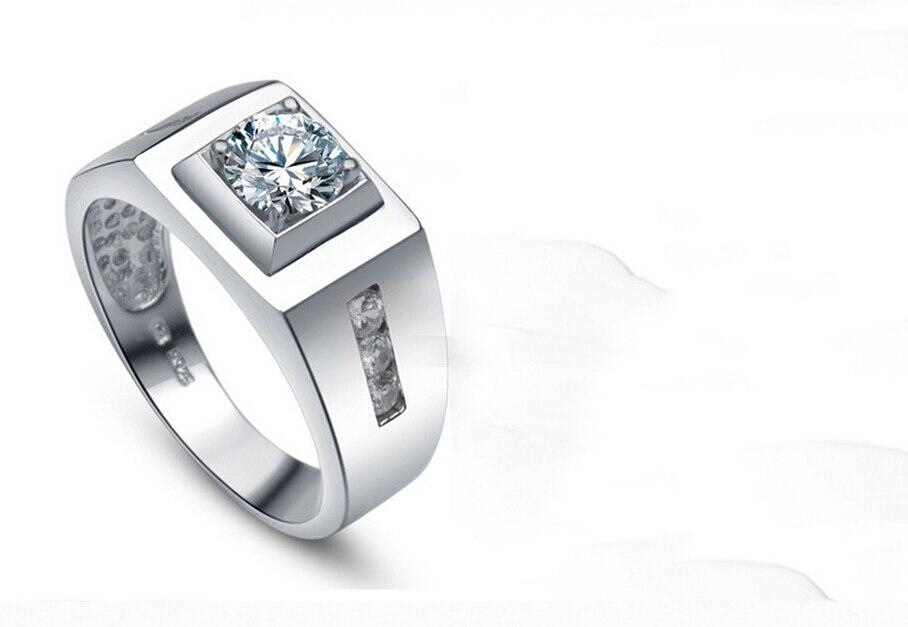 7ba924500 0.8 قيراط نقية 925 الفضة محاكاة nscd سونا رجل صنع الماس خاتم الفرقة us size  5 13 (dfe)