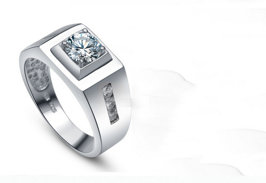 0.8 carat pure 925 silver simulation NSCD sona man made diamond ring male ring band US size from 5 to 13 (DFE)