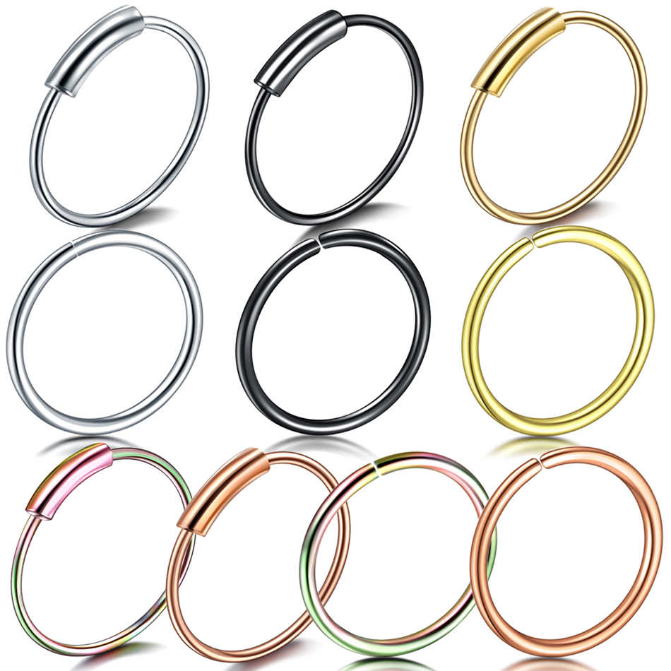 1PC Stainless Steel Seamless Segment Rings Nose Hoop Fake Piercing Tragus Nose Rings Cartiliage Helix Earrings Sexy Body Jewelry