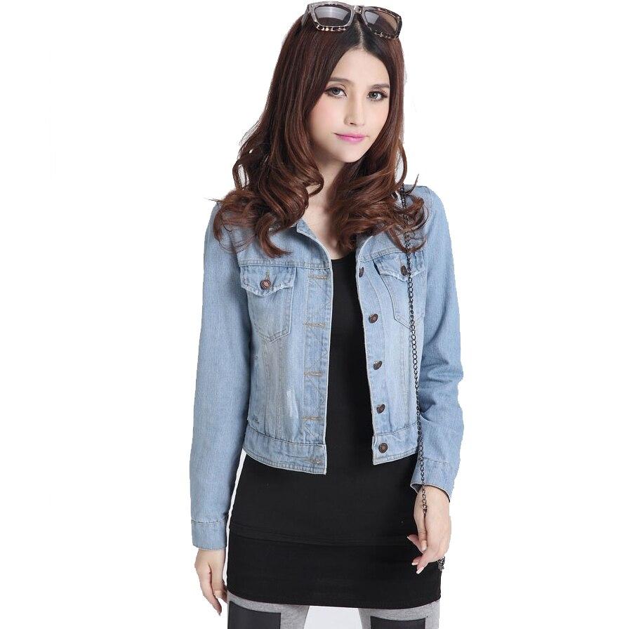 Aliexpress Com Buy Women Distressed Rip Denim Jacket Cropped