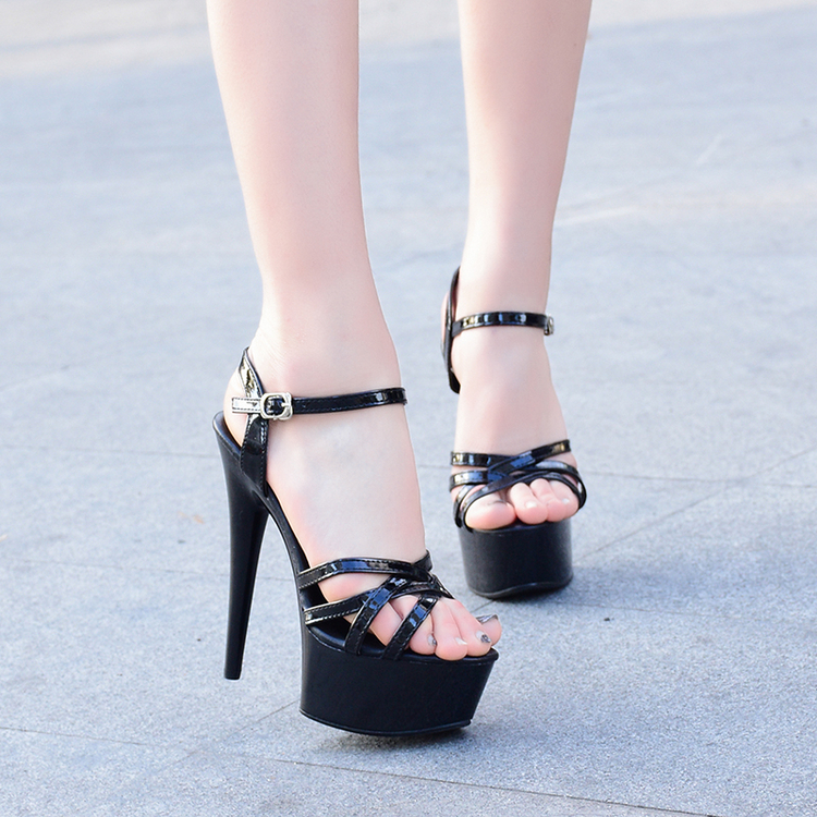 Summer new <font><b>sexy</b></font> waterproof platform 15CM super high heel sandals fashion buckle Roman high heels European large size 9 <font><b>10</b></font> 40 41. image