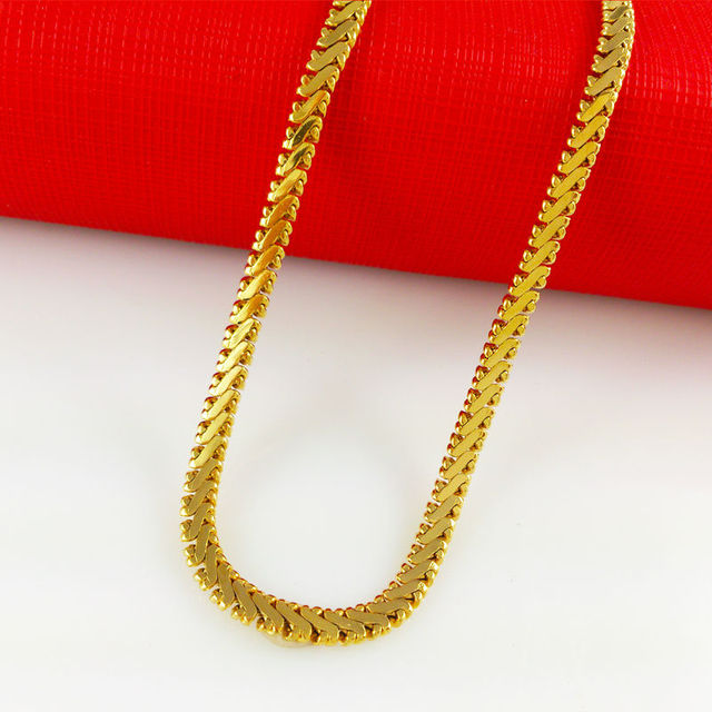 Flat snake necklace 24K Gold plating Necklace Men Jewelry pure gold