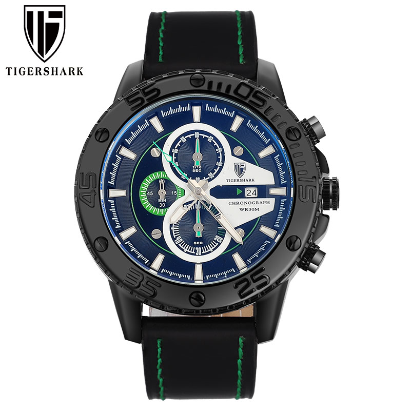 2016 TIGERSHARK popular brand luminous green dial watches men sport chronograph 30M waterproof date genuine leather