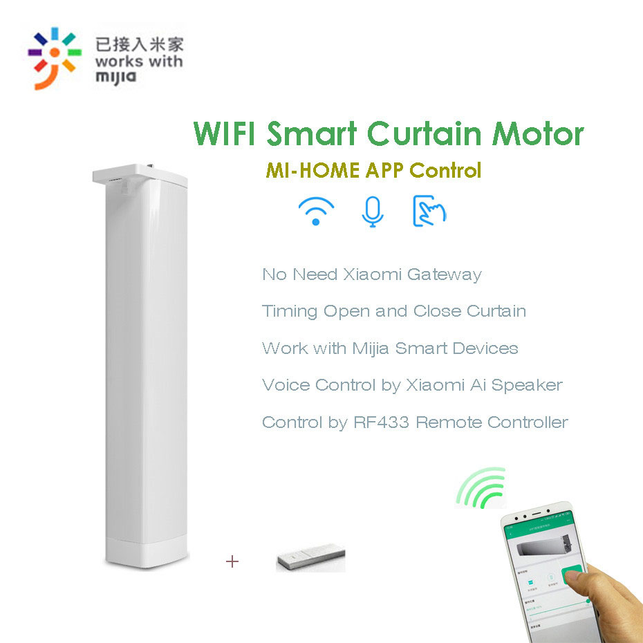 Eruiklink CM82TN Smart wifi Remote Curtain Motor,Mi-Home App/<font><b>RF433</b></font> <font><b>control</b></font>+Voice <font><b>Control</b></font> via Xiaomi Ai Speaker,work with Mijia image