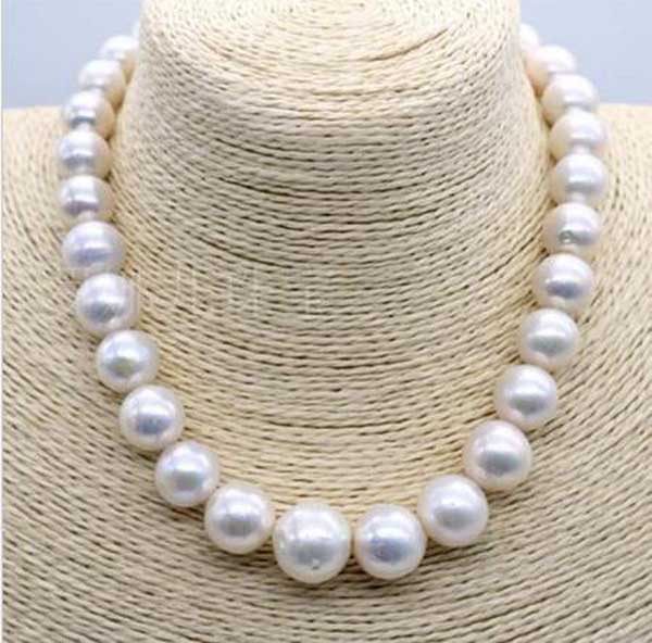 """HUGE 12-13MM SOUTH SEA GENUINE WHITE BAROQUE PEARL NECKLACE 18/"""""""
