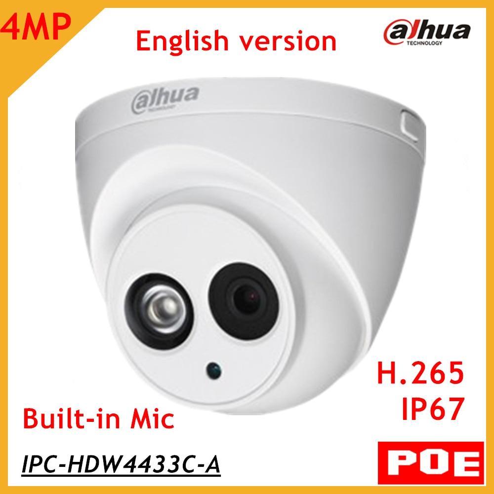 Dahua Anglais Firmware H.265 4MP Caméra IP IPC-HDW4433C-A Remplacer IPC-HDW4431C-A POE Réseau Dôme Caméra Avec Micro Intégré