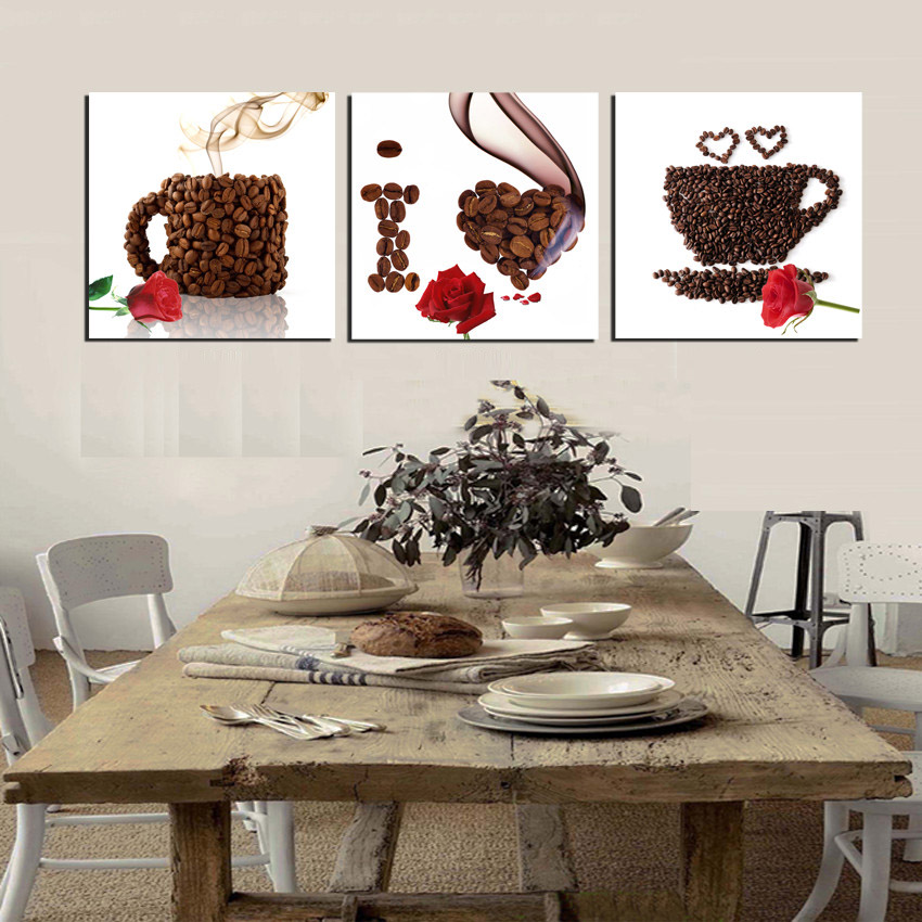 3 Piece Canvas Print Wall Art Coffee Painting Beans Mugs I Love You Cafe Modern Home Kitchen Decor Picture With No Framed