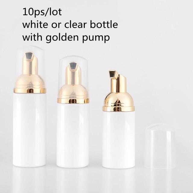 10ps 30 60ml פלסטיק Foamer משאבת בקבוק Refillable ריק קוסמטי בקבוק נוזל סבון Dispenser קצף בקבוק עם זהב foamer