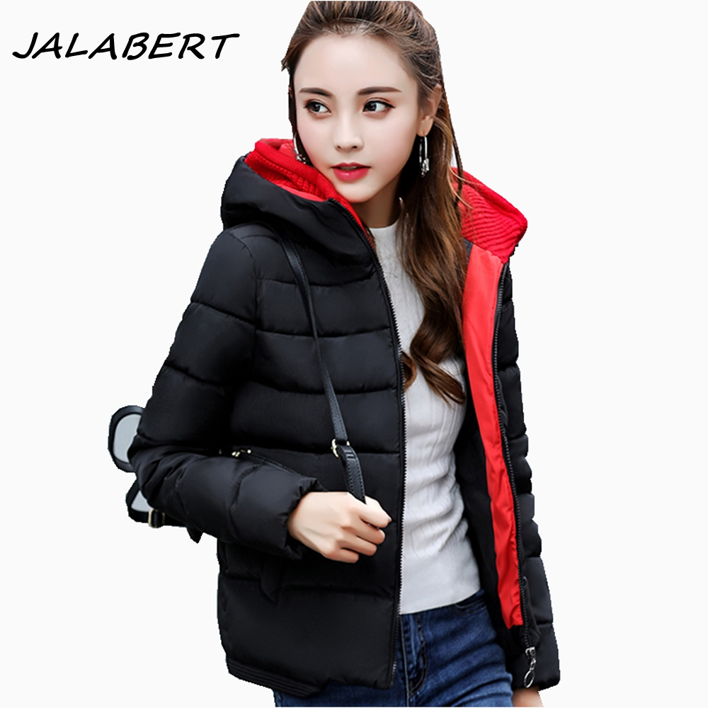 2017 winter new women jacket short hooded Hit color stitching warm cotton parkas female black loose solid zipper coat thicker 2017 new winter coat for women slim black solid hooded long warm cotton parkas female thicker zipper red jacket padded
