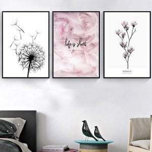 Image 3 - Feather Dandelion Magnolia Flower Wall Art Canvas Painting Nordic Posters And Prints Wall Pictures For Living Room Bedroom Decor
