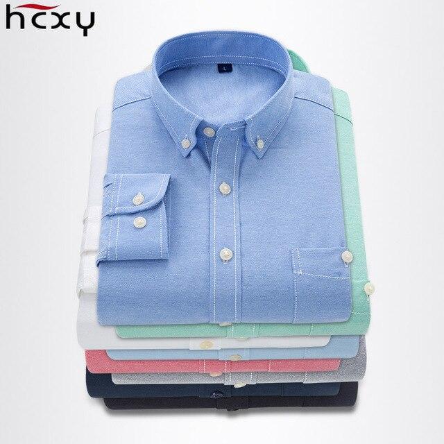 5XL HCXY 2018 primavera plus size manga longa homens casuais camisa masculina camisa de vestido dos homens de negócios marca oxford camisas sociais