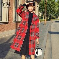 YuooMuoo Red High Street Fashion Single Breasted Wool Coat Women Plaid Long Winter Coat Green Turn down Collar Elegant Jacket
