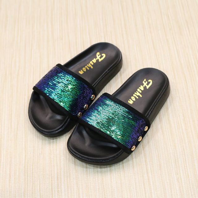 4ec5394233a9 2017 Summer Princess Baby Girls Mermaid Sandals Glitter Beach Slides Shoes  for Kids Casual Sandals PU Leather Children s Shoes