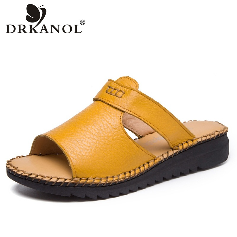 DRKANOL Handmade Genuine Leather Slippers Summer Women Flat slippers Shoes Open Toe Flowers Slides Women Slip On Sandals H7206 2018 new high end leather comfortable feet sandals classic sandals handmade leather slippers handmade leather slippers