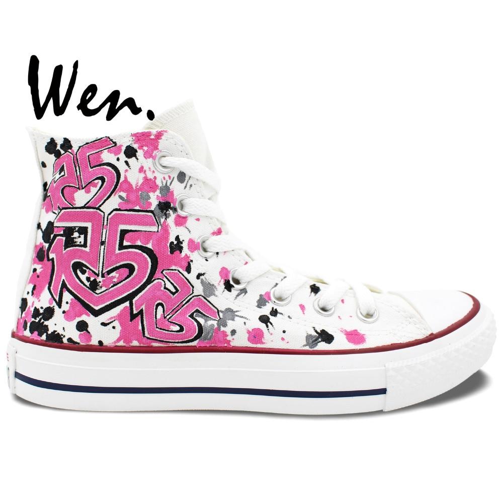 Wen håndmalede sko Design Custom Pink R5 LOUDER Kvinder Mænds High Top Canvas Sneakers til Fødselsdag Gaver