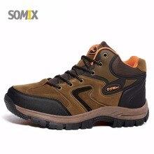 Somix большой Размеры открытый Обувь Для мужчин осень-зима Водонепроницаемый Пеший Туризм Сапоги и ботинки для девочек Для мужчин предотвращения столкновений амортизацию прогулочная обувь Для мужчин