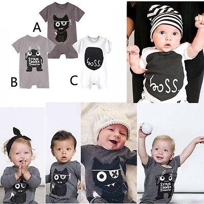 Newborn Kids Baby Boy Girl Cotton Monster Jumpsuit Bodysuit Clothes