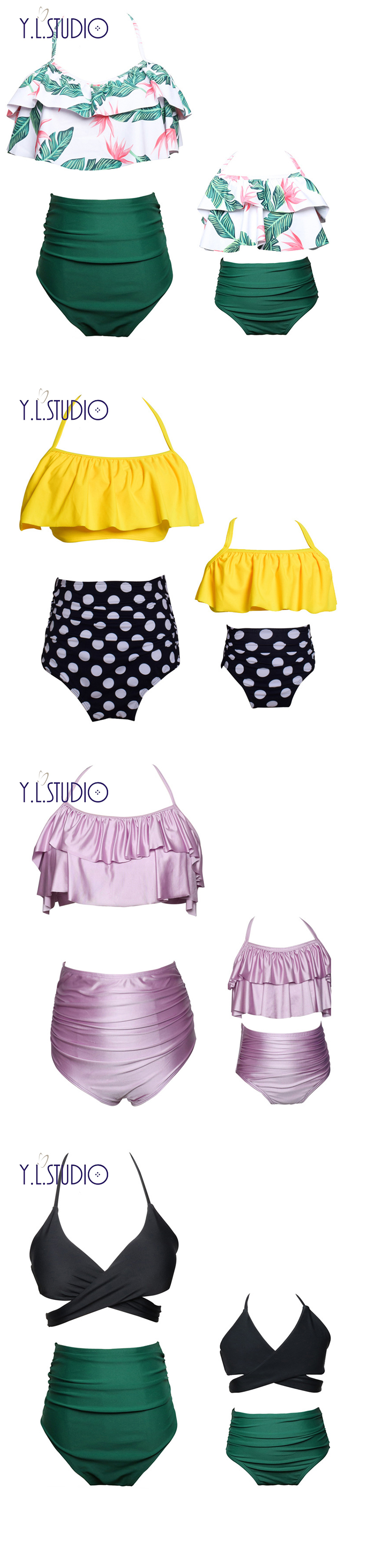 HTB16AENjf6TBKNjSZJiq6zKVFXaa Mother and Daughter Swimsuit Mommy Swimwear Bikini sets Brachwear Clothes Look Mom Baby Dresses Clothing Family Matching Outfits