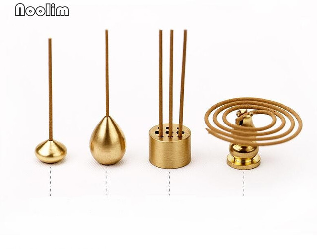 NOOLIM High Quality Brass Incense Burner Holder For Incense Stick Coil Bottle Gourd Shaped Copper Incense Holder