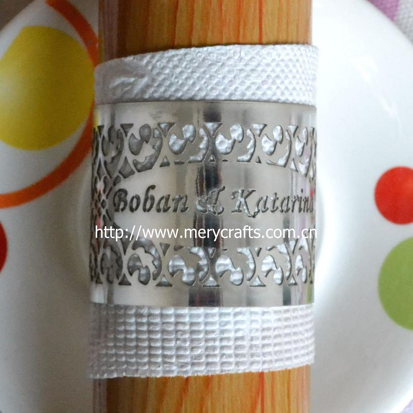 Corte a Laser de Prata Anéis de Guardanapo para o Banquete de Casamento Decorações de Mesa Lote 50 Pçs –