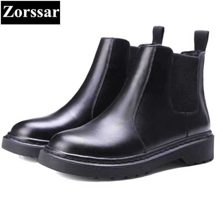 {Zorssar} 2018 NEW arrival comfort flats heel Chelsea Boots Genuine leather women ankle Martin boots winter warm women shoes zorssar 2018 new fashion women boots genuine leather comfort thick heel zipper mid calf boots autumn winter women shoes