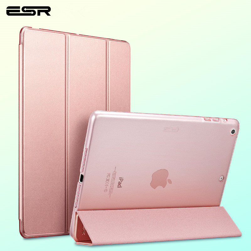 For iPad Air 1 Case Cover with Stand, Ultra Thin PU Transparent Back Ultra Slim Light Weight Trifold Smart Case for iPad 5 protective silicone back case for iphone 5 transparent blue