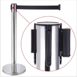 time litmited 4 Pack Retractable Crowd Control Stanchion Queue Barriers Post Black Strap Belt