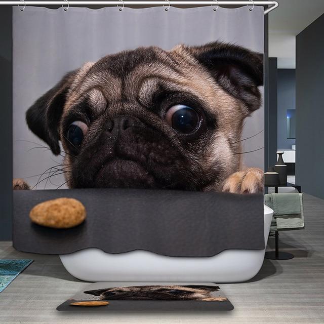 Cute Animal Dog And Cat Bathroom Rainfall Shower Curtain Decoration Home