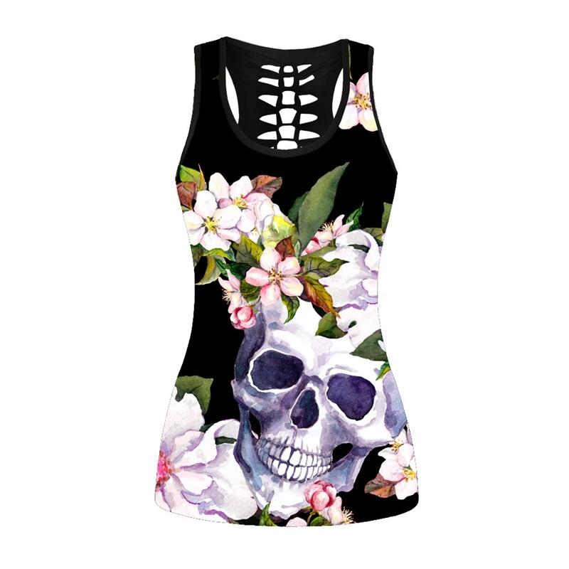 Fashion Black Women Sweatshirt Vest Skull Floral Print Sexy Goth Tank Tops Summer Behind Hollow Out Vest