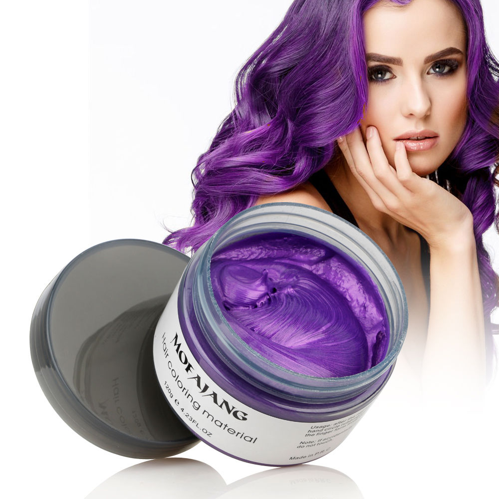5 Colors Disposable Unisex DIY Hair Color Wax Dye Cream One-time Molding Paste BLUE Burgundy Gray Hair Dye Wax image