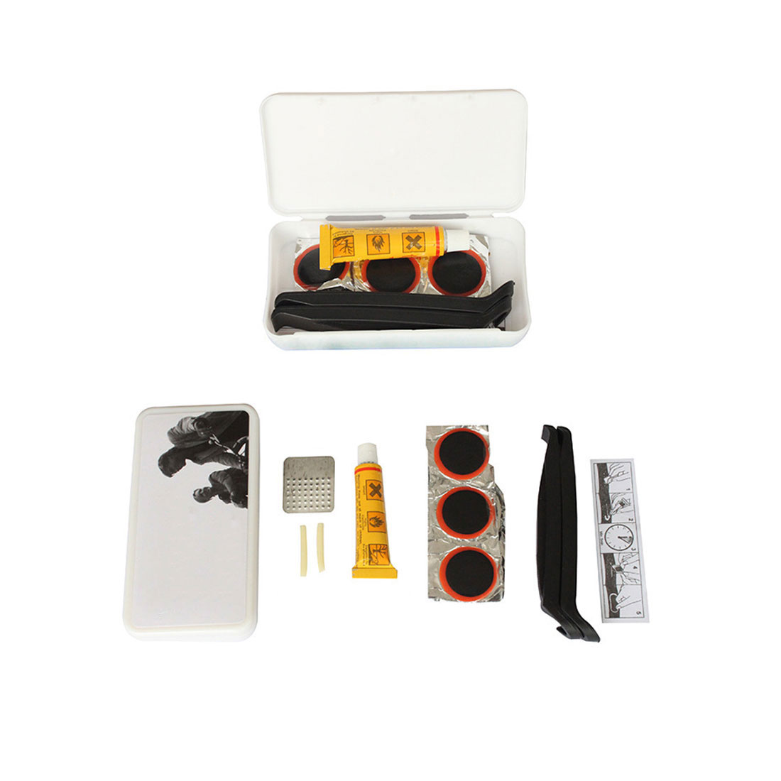 New Arrival 1 Set MTB Mountain Bike Cycling Bicycle Tyre Glue Outfit Patch Lever Puncture Repair Kit Rubber Tools